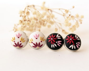 Stud earrings set, Black stud earrings, red and black, black flower earrings, white flower earrings, red earring, tiny romantic gift for her
