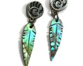 Small Abalone Feather Earrings Native American Indian Signed Earrings Gift for Her Blue Abalone Small Earrings