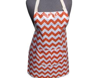 Waterproof Laminated Cotton Tween Girls Apron Pinny Orange Tangerine Chevron Zig Zag