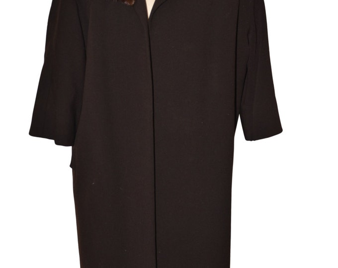 Vintage Estate Lenari Designed Brown Mink Collar Coat