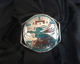 Navaho cuff bracelet, silver and turquoise, signed, vintage