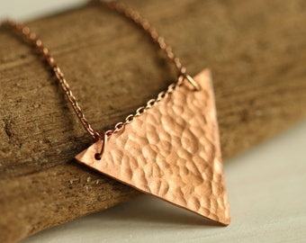 Delicate hammered triangle necklace with 14k rose gold chain // copper geometric charm // minimalist layered jewelry // everyday style