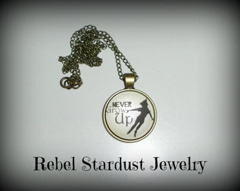Peter Pan Never Grow Up quote photo necklace
