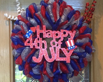 Happy 4th of July Patriotic Wreath