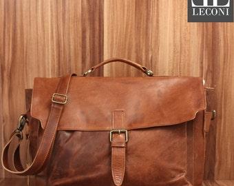 LECONI Briefcase business bag Messenger bag Messenger bag Vintage Leather Brown LE3008-wax