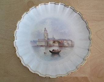Unusual Antique Spode Copeland Hand Painted Porcelain Zurich Plate
