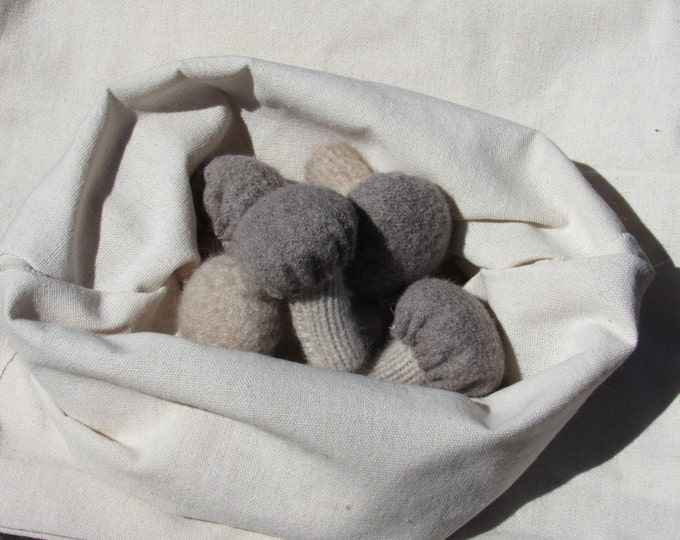 All natural felt play food - mushrooms