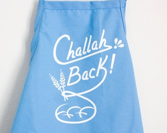 Challah Back Apron- Baby Blue and White