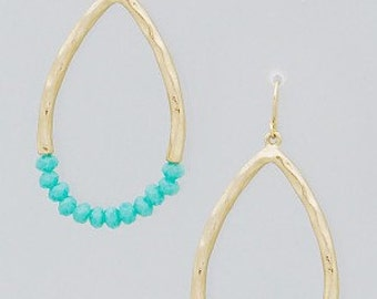 Gold Teardrop and Aqua Beaded Earrings