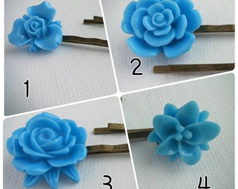 Resin Flower Bobby Pins, flower hair pins - BLUE, various styles
