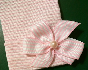 Newborn Hospital Hat with Pink/White Striped Bow topped w/Pearl 1st Keepsake! Baby's 1st hat & Bow! Great Gift! You Choose Hat Color