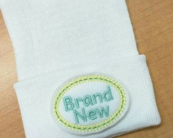 "Newborn Hospital Hat. Brand New! Newborn Hospital Beanie. White  Hat with ""Brand New"""