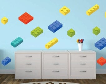 Fabric Wall Decals, Set Of 17 Building Blocks, Bricks for kids  - Removable, Reusable, Repositionable