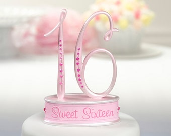 16th Birthday Cake Topper/ Sweet Sixteen Cake Topper/ Pink Sweet 16 Cake Topper/ 16th Birthday Cake Topper