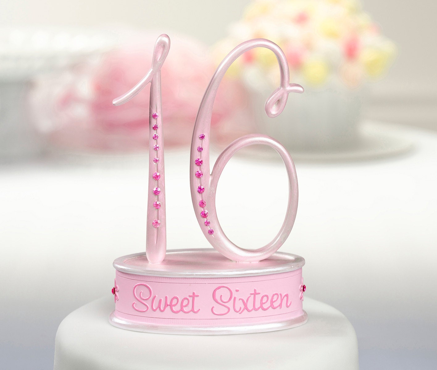 16th Birthday Cake Topper/ Sweet Sixteen Cake Topper/ Pink