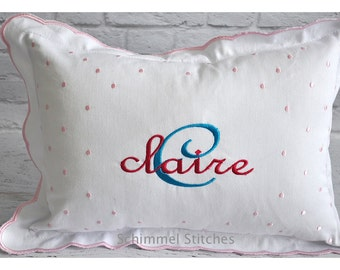 Personalized Baby Pillow,Pink and White Scalloped Embroidered