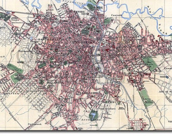 Reproduction of a Vintage Map of São Paulo, Brazil from 1913- Fantastic Photo Poster Print - Old Archive Cartography
