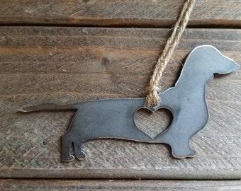 Love Dachshund Rustic Steel Heart Ornament