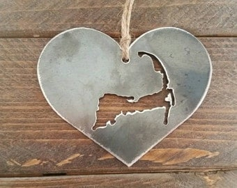 Love Cape Cod Steel Ornament Metal State Heart Christmas Tree Decoration Holiday Gift Travel Keepsake Wedding Favor BE Creations