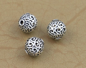Round 925 silver bead thai sterling silver spacer ball beads antique silver hollow beads diy necklace bracelet wholesale Y147