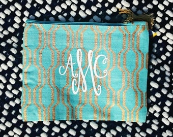 Personalized Aqua & Gold Makeup Bag with Gold Tassel