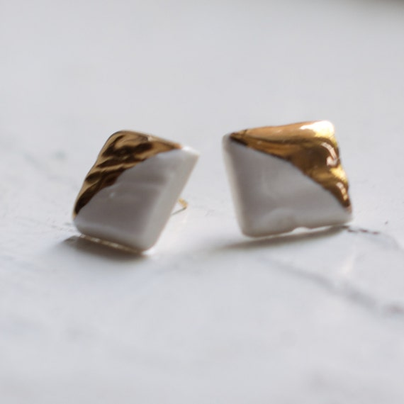 Diamond gold dipped Porcelain and 18k Gold Stud Earrings