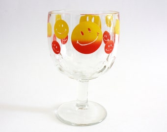 90's Hippie Smiley Face Glass Chalice Goblet