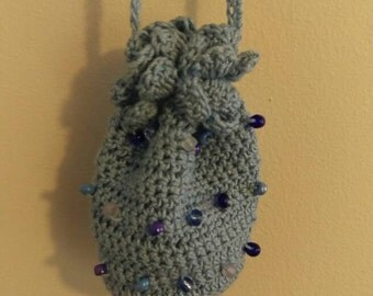 Mini Drawstring Bag in Blue with Glass Beads.