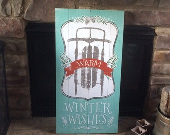 "Warm Winter Wishes Christmas Holiday Sled Pine Cone Vintage Wood Sign Art 18x36"" - Made in USA"
