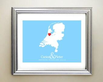 Netherlands Custom Horizontal Heart Map Art - Personalized names, wedding gift, engagement, anniversary date