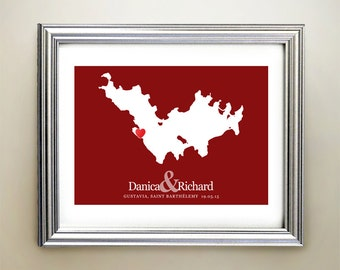 Saint-Barthélemy Custom Horizontal Heart Map Art - Personalized names, wedding gift, engagement, anniversary date