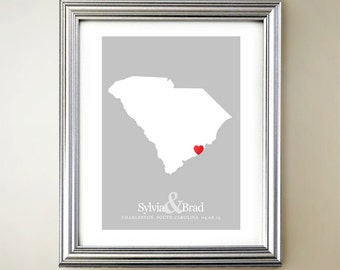 South Carolina Custom Vertical Heart Map Art - Personalized names, wedding gift, engagement, anniversary date