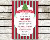 "Peppermint Festive Christmas Surprise Party Invitation 5""x7"""