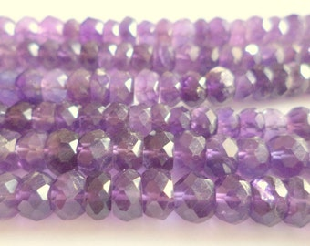 "14"" Beautiful Natural AMETHYST micro cutting faceted Gemstone Beads 4.5 mm"