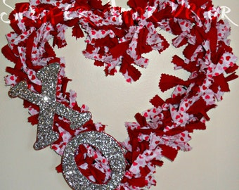 Heart Shaped Wreath, Valentine Wreath, Fabric Wreath, Heart Rag Wreath, Valentine Rag Wreath, Heart Wreath Fabric, Cupid Wreath, Valentines