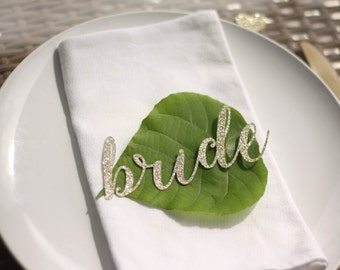 bride & groom name place cards