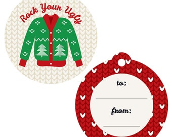 Ugly Sweater - Holiday Party Gift Tags - Ugly Sweater Christmas Party Gift Tags - Tacky Sweater Party Gift Tags - Set of 20