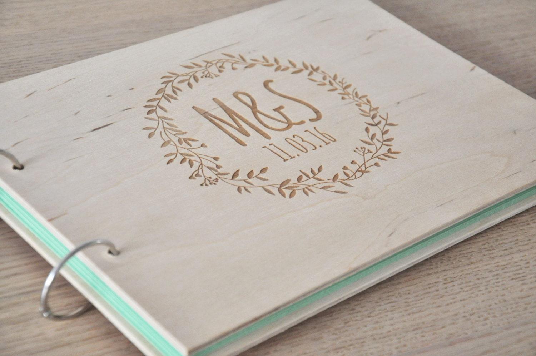 Scrapbook guest book ideas - Custom Wood Wedding Guest Book Horizontal Landscape Guestbook Wedding Album Sign In Book Hardcover Wedding Guestbook Wedding Planner