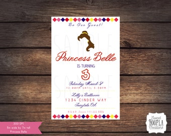Princess Belle, Beauty and the Beast Invitation - DIGITAL DOWNLOAD