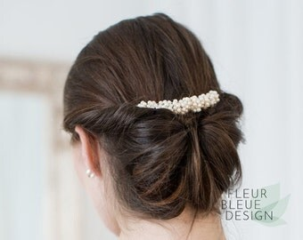 bridal pearl hair comb | wedding hair jewelry | freshwater pearl hair comb | vintage bridal hair jewelry | ivory | bridal hair accessory