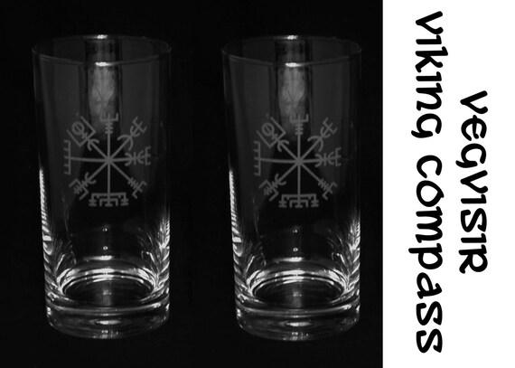 Set Of 2 Custom Etched Glasses Vegvisir Viking Compass