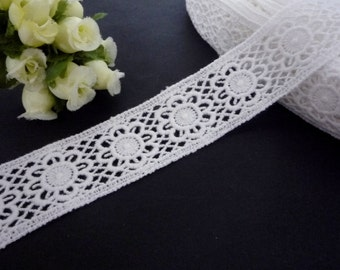 7 yards or 14 yards White Cotton Crochet Lace Trim Craft DIY 1-1/4 inch / 3cm width L678