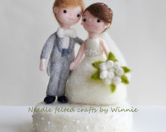Needle felted wedding dolls with base- handmade wool OOAK Bride and Groom cake topper