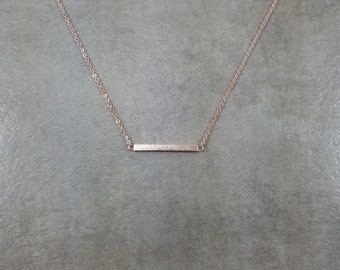 Straight Bar [ROSE GOLD] Shiny Dainty Necklace Charm Stylish Pendant Necklace in Gift Box