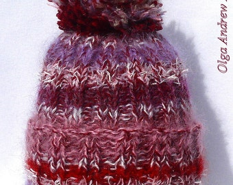 Hand knitted hat pompom knit hat mohair hat wool hat pompom knit hat pompom hat wool hand knit hat mohair hat wool knit winter mohair hat
