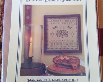 Counted Cross Stitch Sampler Kit by Margaret & Margaret Shaker Hearts Sampler 1985 Complete Kit