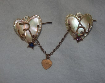 Vintage Mother Of Pearl Brooch MOP Double Heart Chain Darling Mother of Pearl Sweetheart Brooch