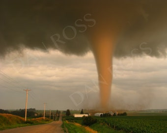 "Stunning Illuminated Tornado at Sunset in Iowa, Photo Print (9""x12"")"