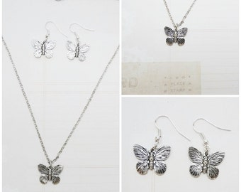 Silver Butterfly Charm Necklace and Earring Set - Ready to Ship