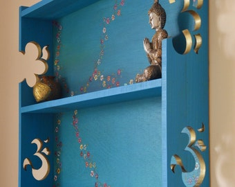 Decorative Bespoke Wall Mounted Shelving Unit Turquoise Blue with carved gold Om Signs & Hand Painted Flower Design